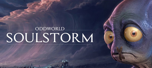 """Imposing close rise up like a wave over text that reads """"OddWorld SoulStorm"""". On the right, an alien with a fish-like face and mouth sewn shut looks forwards sadly."""