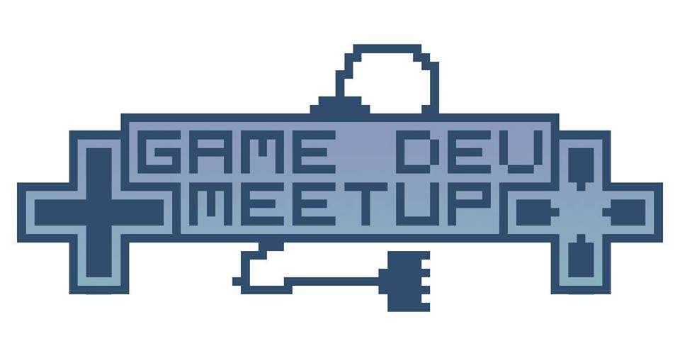 "Blocky logo reading ""Game Dev MeetUp"" flanked by two controller D-pads and a power cable."