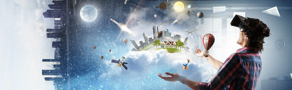 Banner Image of a man in a Virtual Reality Headset, arms extended upwards towards a fantasy city amongst clouds and galaxies.