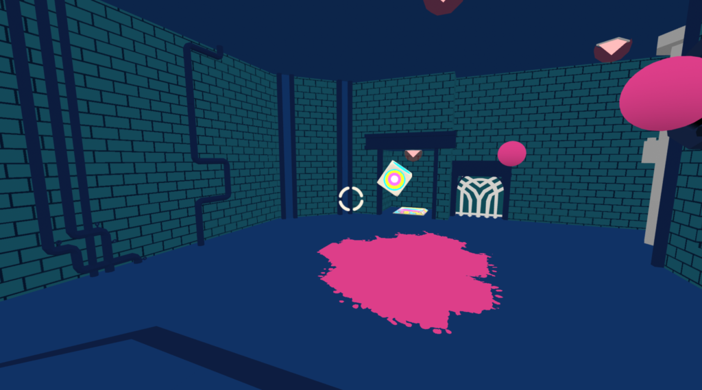 Screenshot from game Acrylica. A dark dungeon with bricks covering the wall. On the floor, a large puddle of pink liquid, and floating above that a colourful box.