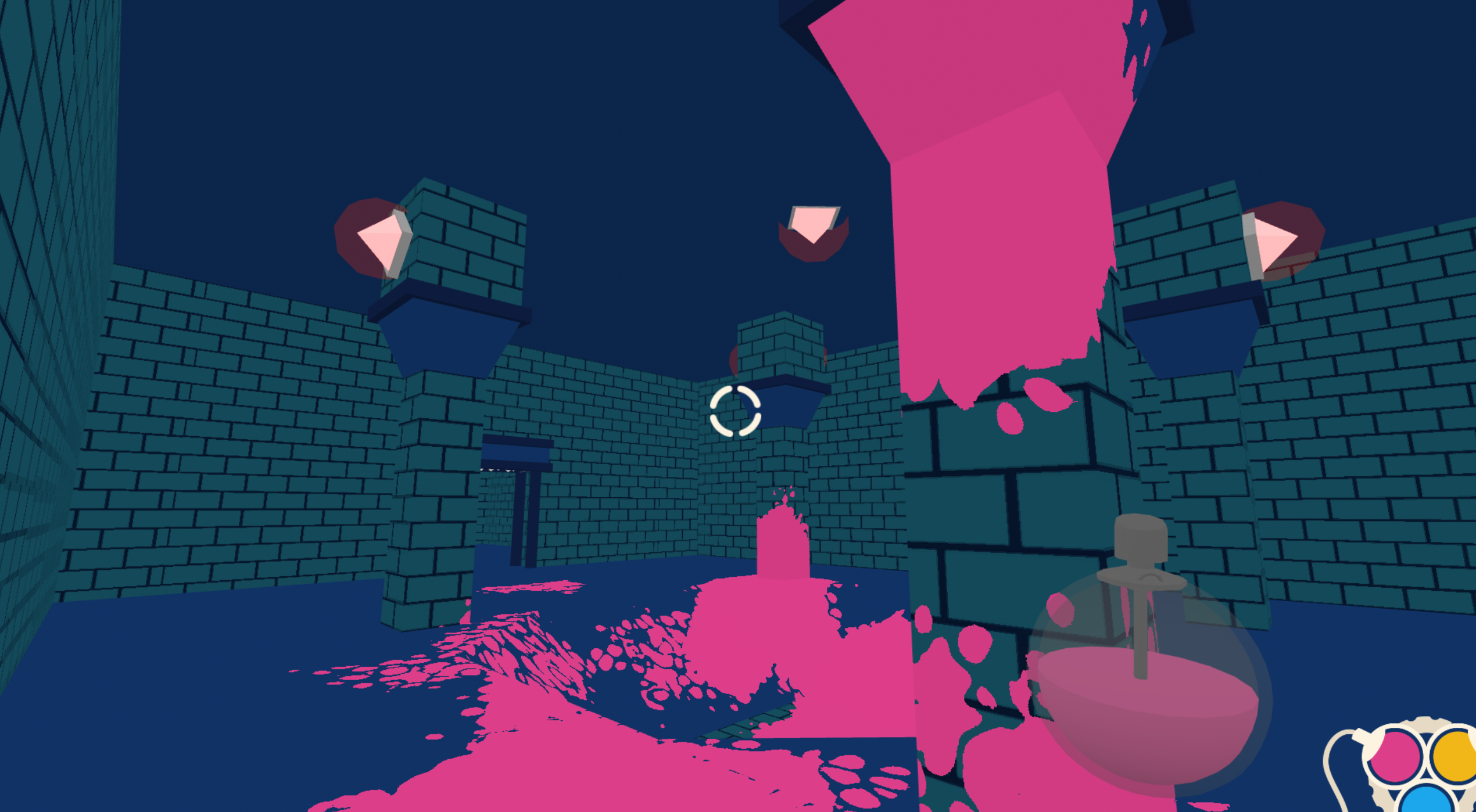 Screenshot from game Acrylica. A dark dungeon with three pillars rising from the floor to the ceiling. Pink splashes of paint cover the floor and closest pillar.