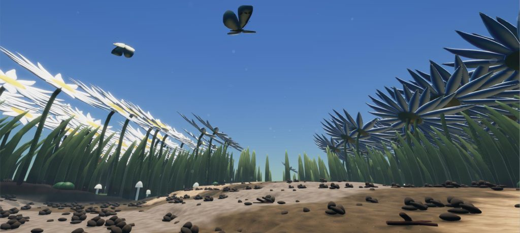 Screenshot from game Little Bit Lost. A panoramic view of a garden from the soil with a butterfly overhead.