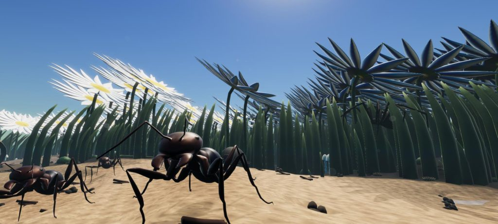 Screenshot from game Little Bit Lost. A giant ant against a backdrop of flowers.
