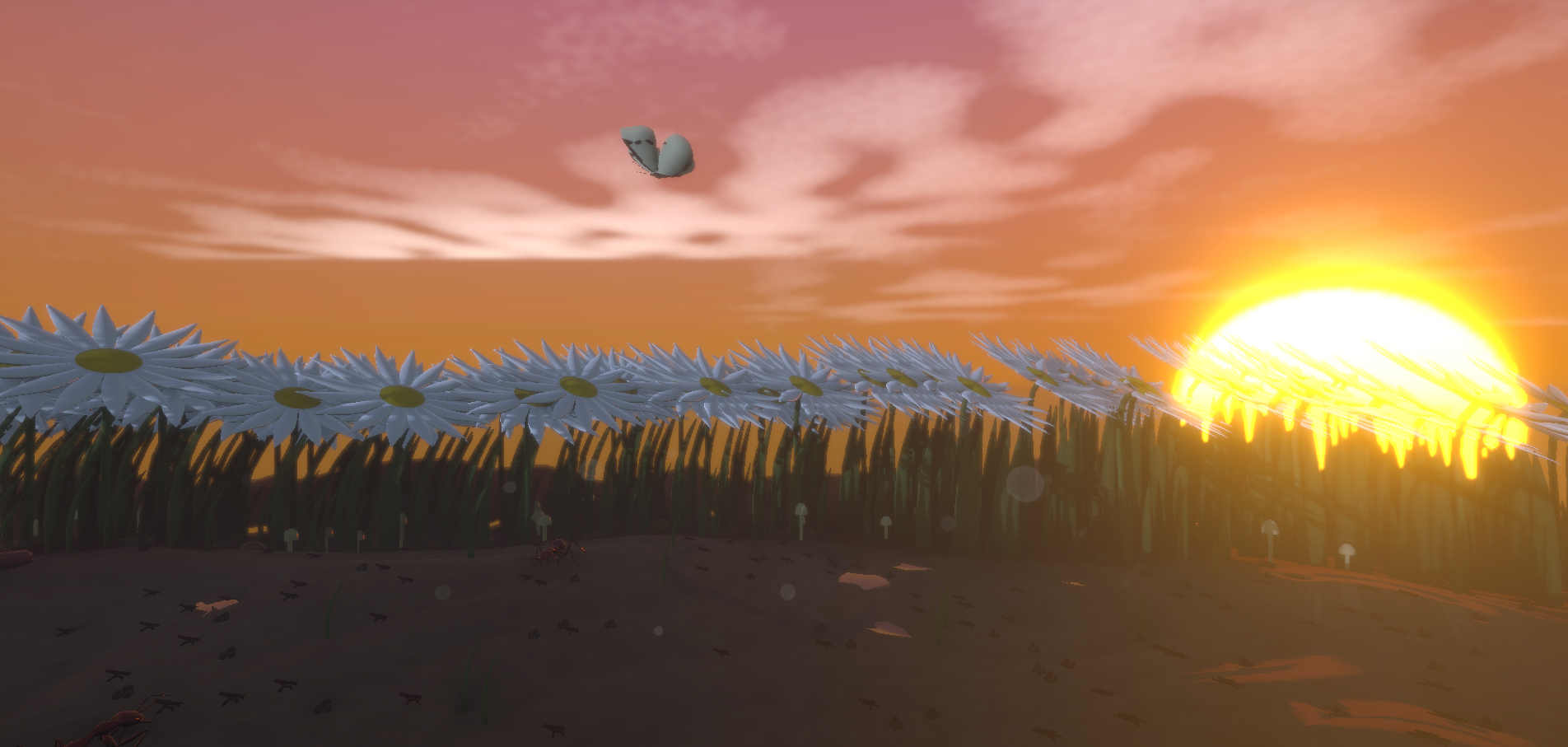 Header Image, screenshot from game Little Bit Lost. It shows a warm sun dipping below the horizon, over a bed of daisies.