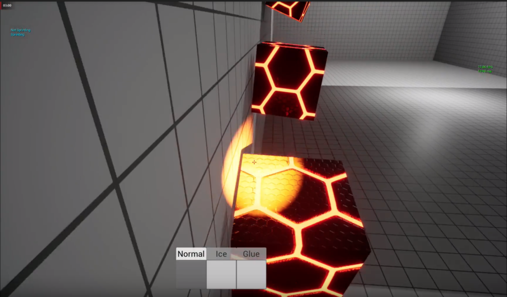 Screenshot from game Impractical Problems. Three red hexagon textured boxes stuck to a wall.