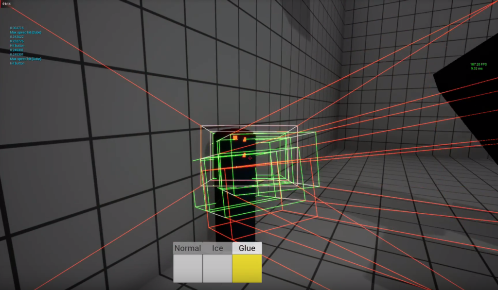 Screenshot from game Impractical Problems. Multiple ray-casts against a button.