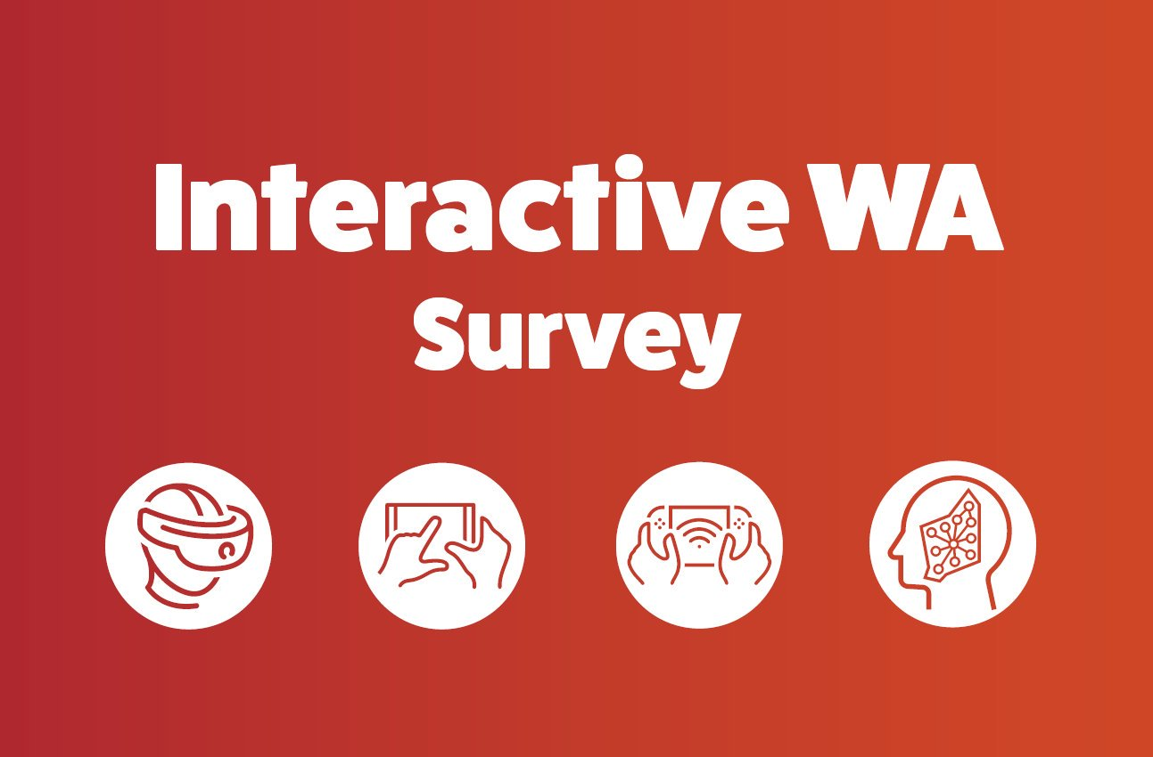 Red background with Interactive WA Survey and icons representing VR, Phone, Console and Mind.
