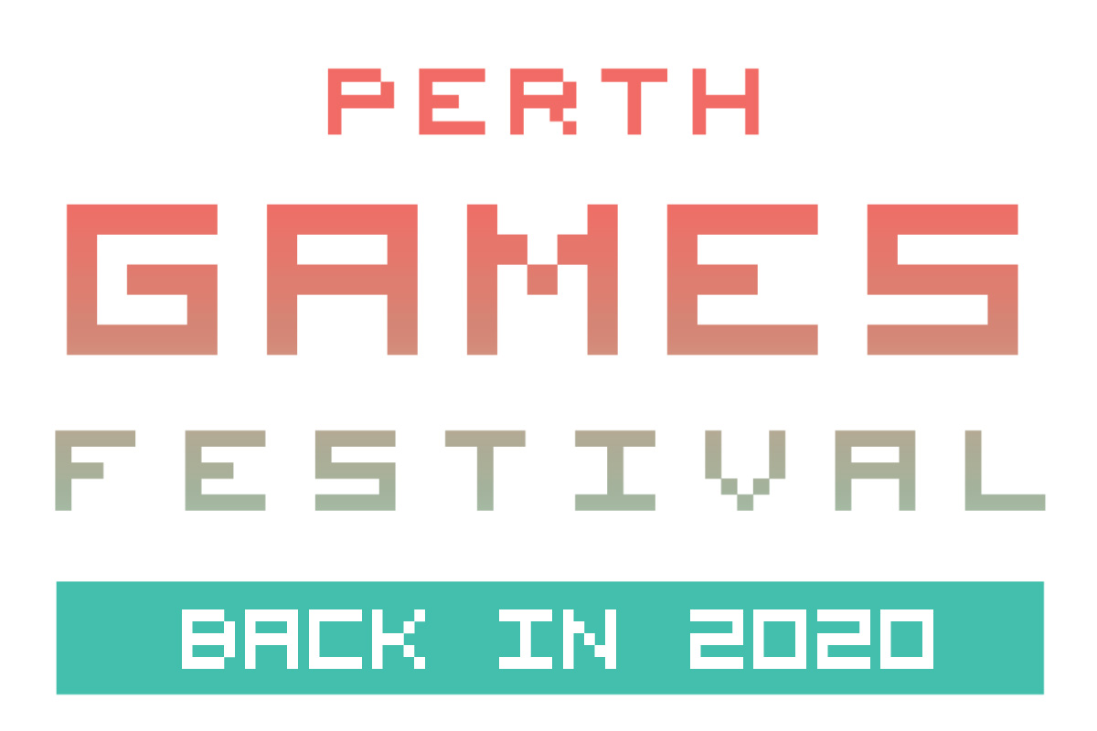 "Perth Games Festival Logo, with the subheading ""Back in 2020"""